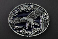 INDIAN EAGLE OVAL BLUE BELT BUCKLE AMERICAN WESTERN INDIAN