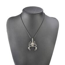Vintage Retro Scorpion Necklace Black Leather Rope Pendant Chain Men's Jewelry