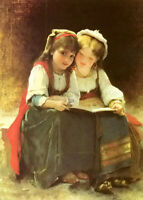 Oil painting leon bazile perrault - an interesting story two young girls reading