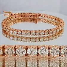 3.90ct ROUND CUT DIAMONDS TENNIS BRACELET 14k ROSE GOLD D COLOR VS2-SI1
