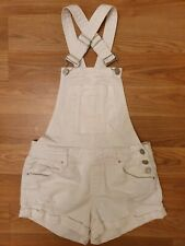 Refuge Women S White Jean Short Overalls with 3 Silver Side Buttonup Buttons and