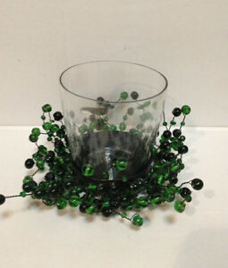 POTTERY BARN GREEN PEPPERBERRY GLASS BEAD CANDLE VOTIVE  New