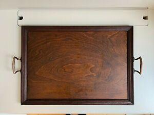 Antique Arts & Crafts Wooden Oak Serving Tray Copper Handles 52x37cm