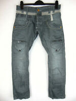 Police 883 LOTUS Relaxed Loose Fit  Mens Grey Denim Jeans Cargo Combat W30 L30