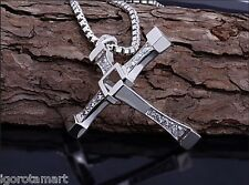 Fast & Furious Dominic Toretto Silver Plated Necklace Box Chain Crucifix Pendant