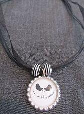 JACK SKELLINGTON HALLOWEEN Ribbon Bottle Cap Bling Charm Necklace Striped Beads