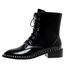 New Women Pearl Decor Lace ups Ankle Boots Chunky Low Heel Leather Causal Shoes