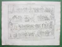 MILITARY HONORS of Romans Triumphs Saluting etc - 1822 Original Engraving Print