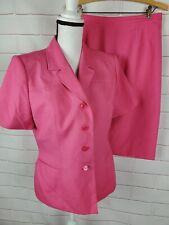 Le Suit Womans 2 Piece Skirt Suit Short Sleeve Petite size 10 Pink Career Jacket
