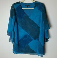 H by Halston Women's Top Size Large V-Neck Lined Bodice 3/4 Sleeves Blue Casual