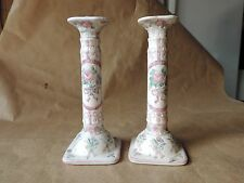 Ancien Paire Bougeoir en faience Barbotine Decor fleurs Rose Japon asie