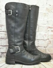 Womens Clarks Black Leather Zip Up Low Heel Knee High Boots UK 6.5 D EUR 40
