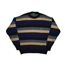 Vintage United Colors of Benetton Wool Sweater Jumper Logo Pullover Striped M