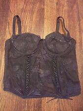 Victoria's Secret Corset Bustier Black Lace Wire Support 34B
