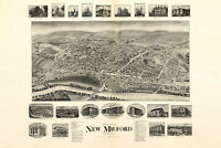 Map of New Milford Connecticut; Antique Map; Pictorial Map, 1906