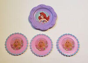 Disney Ariel & Barbie Small Plastic Toy Tea Party Plates Saucers Plastic Plate