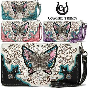 Rhinestone Butterfly Studded Cowgirl Western Style Women Wristlets Clutch Wallet