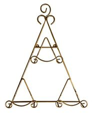 "Large 22"" Goldtone Triangular Hanging or Freestanding Plate Display Rack Holds 3"