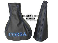 "Gear & Handbrake Gaiter For Vauxhall Corsa B 1993-2000 Leather ""CORSA"" Blue Logo"