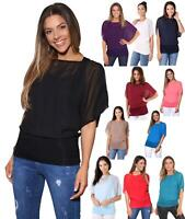 Womens Scoop Neck Blouse Baggy Batwing T Shirt Top Ladies Oversized Chiffon 2in1