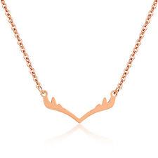 Edelstahl Damen Halskette GEWEIH Anhänger Roségold Kette rose gold necklace