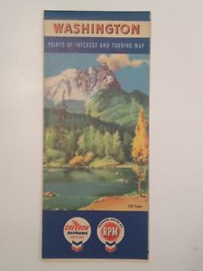 Washington 1957 CHEVRON Gas Station Vintage State Road Map