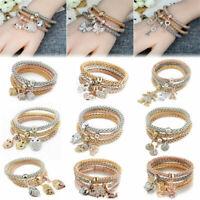 New 3Pcs/Set Women Bracelet Gold Silver Rose Gold Rhinestone Bangle Jewelry