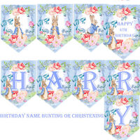 Peter Rabbit Bunting/ Baby Boy Personalised/Birthday banner/ Christening Garland