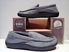 New Totes Toasties Mens Size Md 8-9 Gray Suede Memory Foam Slippers