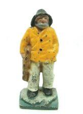 """Vintage 1900's Cast Iron Original Old Salt Fisherman Doorstop 16 1/2"""" Orig Paint"""