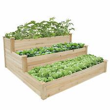 Wooden 3-Tire Raised Garden Planter Flower Bed Elevated Vegetable Box