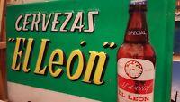 """"""" Cervezas El Leon """" LETRERO  EXTERIOR PARA BAR resina  San Sebastian Gipuzkoa"""