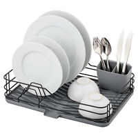 Large Dish Drainer Metal Wire Cutlery Draining Holder Plate Rack Kitchen Sink