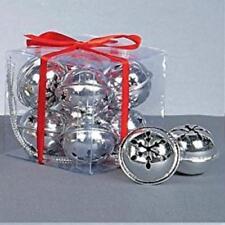Paquete x 8 Diseño Copo De Nieve Cascabeles Plata Decoración De Navidad 4cm