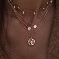 Boho Multilayer Crystal Clavicle Chain Necklace Choker Pendant Women Jewelry
