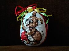 UNIQUE EASTER HAND MADE EMBROIDERY RABBIT ORNAMENTS EGG