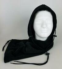 HOT HOODZ Black Long Winter Balaclava Neck Cover / Hood w Drawstrings - One Size