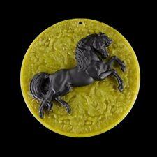 Carved Horse Black Jasper Bead GG401005