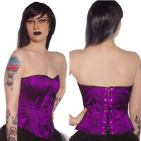 PURPLE BLACK LACE BASQUE CORSET TUTU BURLESQUE FANCY DRESS ALTERNATIVE GOTH