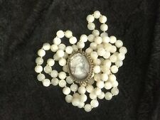 """26"""" Antique Vintage MOPearl Handcarved Cameo Pendant Pin On MOP Bead Necklace"""