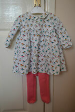 NEXT Crema Rosa Bird Birdhouse Print Dress & Collant bambina 3-6 mesi
