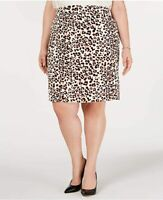 Bar III Womens Beige Animal Print Above The Knee Pencil Wear to Work Skirt Size
