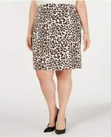 Bar III Womens Beige Animal Print Above The Knee Pencil Wear to Work Skirt Size