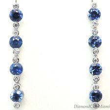 Fine 1.81ct Diamond & Sapphire 18K Gold Long Drop Earrings 3.4 Grams