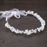 White Resin Flower Pearl Crystal Wedding Bridal Ribbon Tiara Hair Band Headband