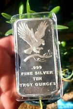 10oz SEALED .999 Silver Bullion Eagle Bar New in plastic! ⛏️ONE DAY N/Reserve!!