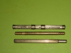 Three Antique Vintage Retractable Combi Metal Travel Dip Pen And Pencils.
