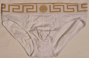Versace Underwear Mens Low Rise Slip Cotton Briefs - Size 4, Euro M Medium White