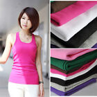 Women Ladies Solid Vest Tank Cotton Tops Sleeveless Tee Blouses Casual T-Shirt