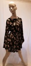 PULL AND BEAR GREY FLORAL SMOCK DRESS / TOP SIZE LARGE